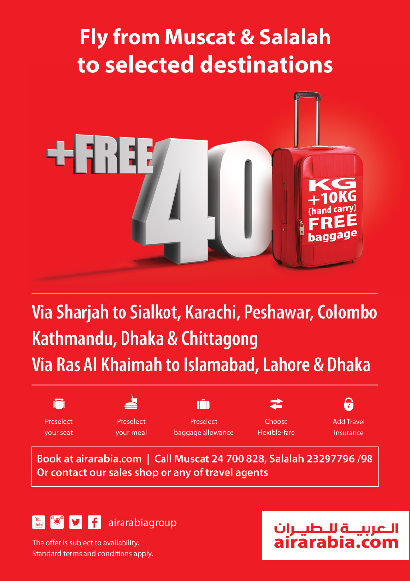 Fly from Muscat & Salalah to selected destinations with 40 KG free baggage allowance