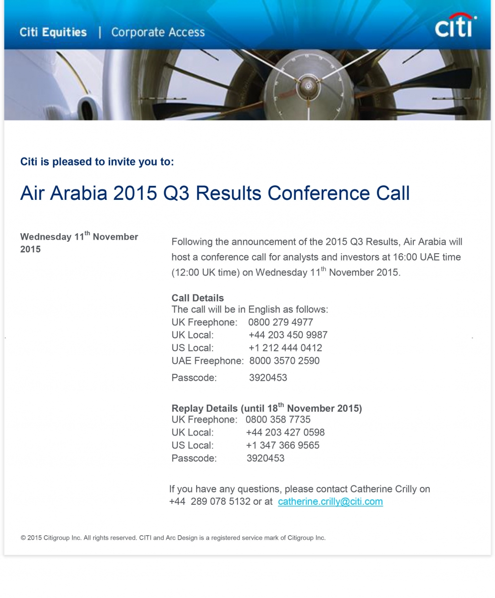 ​​Air Arabia 2015 Q​3 Results Conference Call