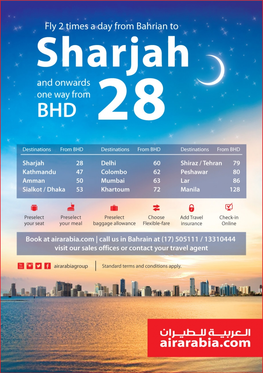 Fly 2 times a day from Bahrain to Sharjah and onwards from BHD 28 one way all inclusive!