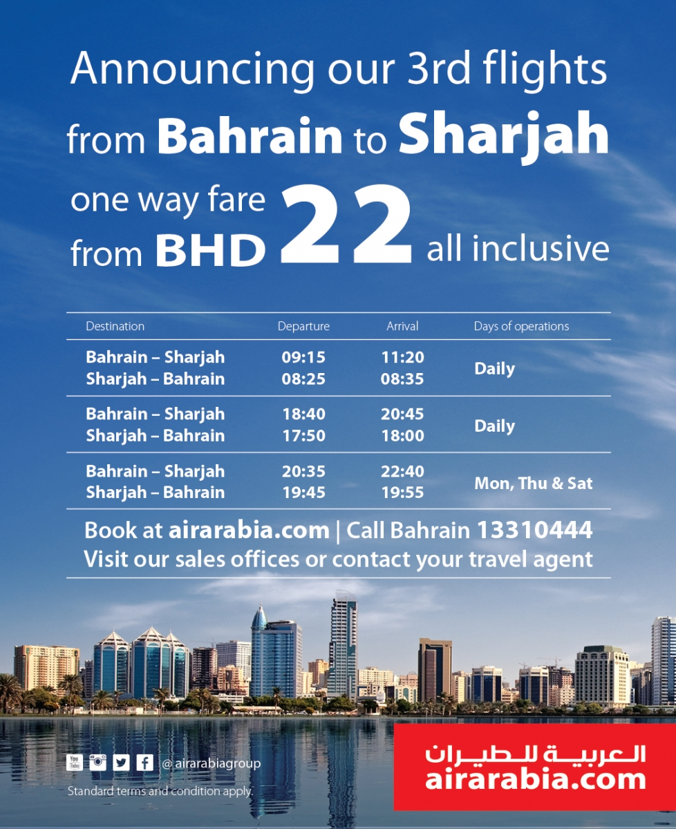 Announcing our 3rd flights from Bahrain to Sharjah one way fare from BHD 22 all inclusive
