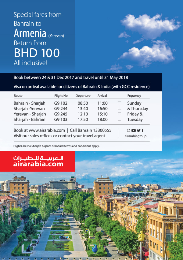 Special fares from Bahrain to Armenia