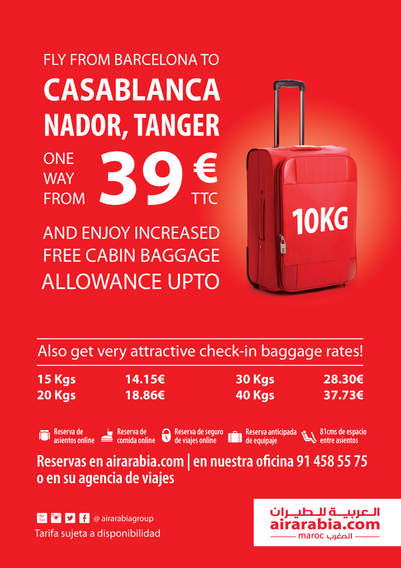 Fly from Barcelona to Casablanca, Nador and Tangier one way from 39 EUR all inclusive with free 10 KG cabin baggage allowance!