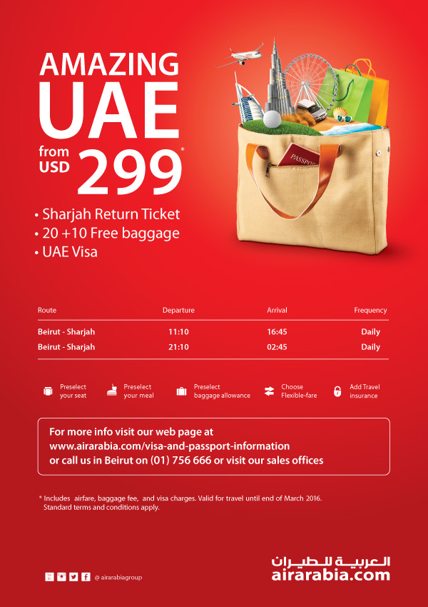 Visit amazing UAE from USD 299 return along with visa fee and free baggage!