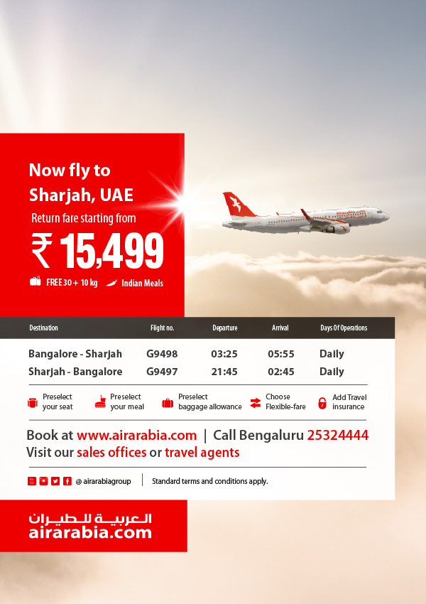 Fly to Sharjah, UAE return fare starting from INR 15,499!