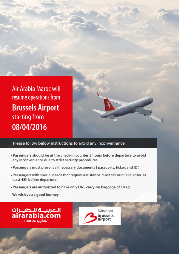 Air Arabia Maroc will resume operations from Brussels Airport starting from 08 April 2016