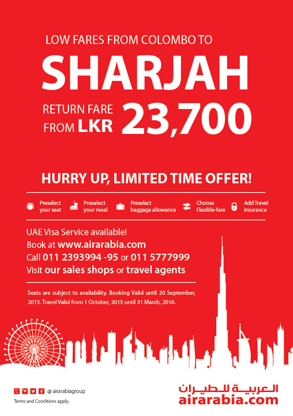 Colombo to Sharjah return fare from LKR 23,700, all inclusive!