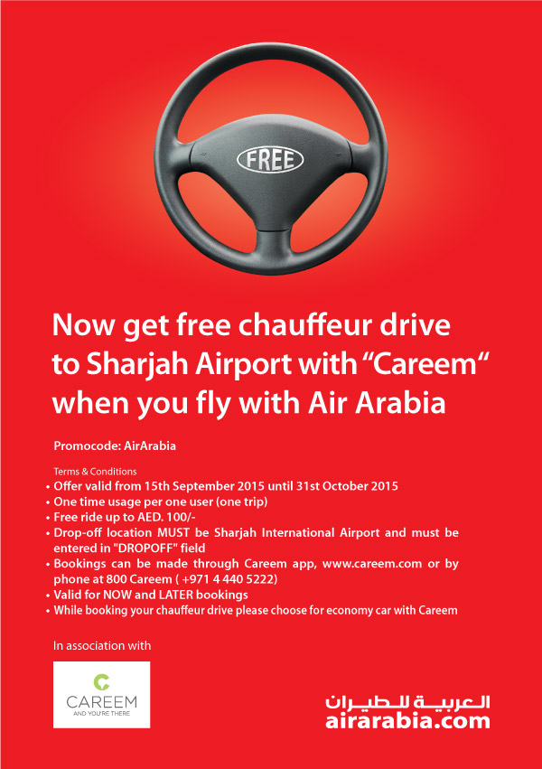 Free chauffeur drive with Careem when you fly with Air Arabia | Air