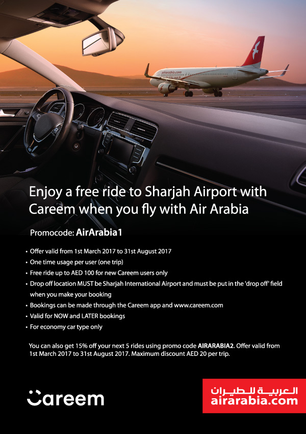 Free ride to Sharjah Airport with Careem | Air Arabia