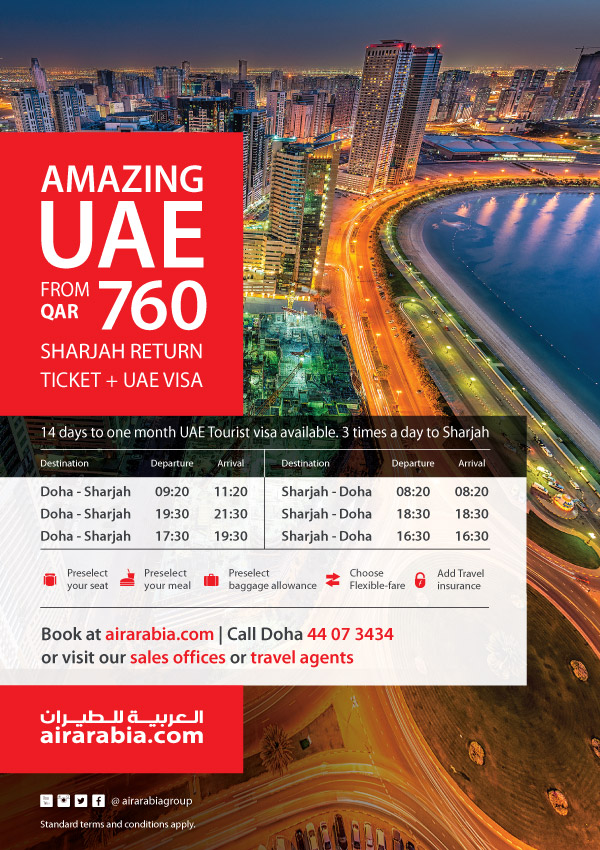 Amazing UAE from QAT 760 Sharjah return ticket + UAE Visa