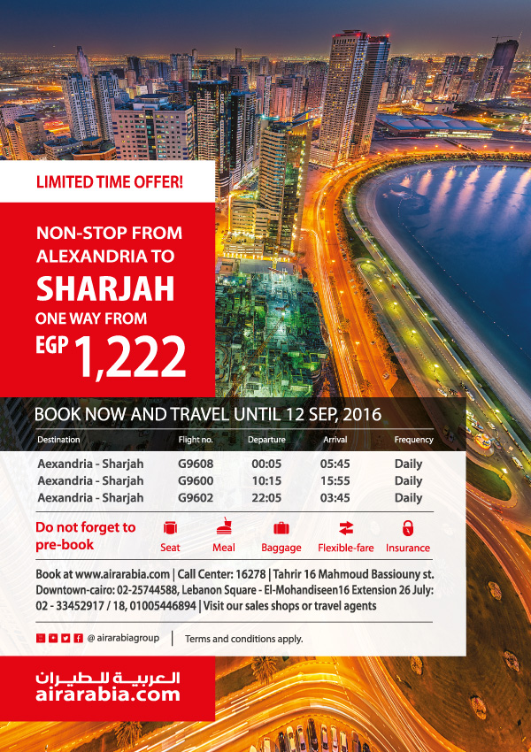 Non Stop From Alexandria To Sharjah Air Arabia