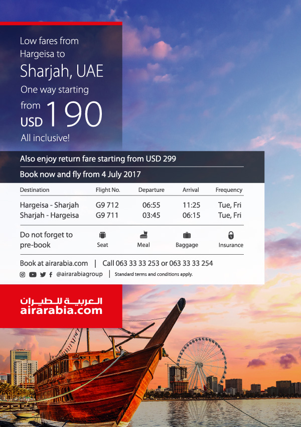 Low fares from Hargeisa to Sharjah