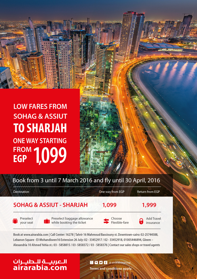 Low fares from Sohag and Assiut to Sharjah from EGP 1,099