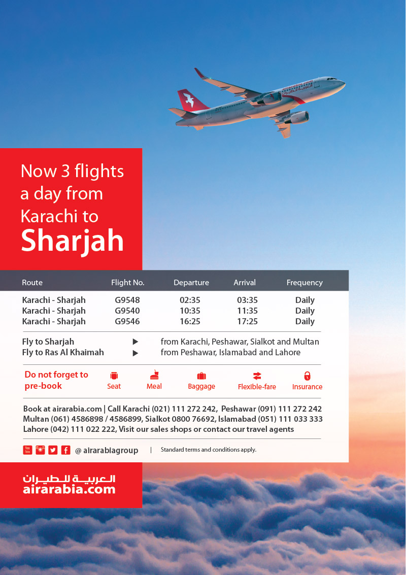 Now 3 flights a day from Karachi to Sharjah | Air Arabia