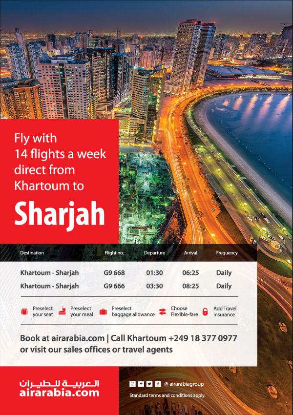14 flights a week from Khartoum to Sharjah | Air Arabia