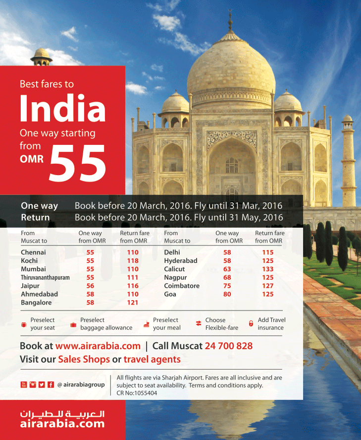 Best fares from Muscat to India starting fare OMR 55, one way!
