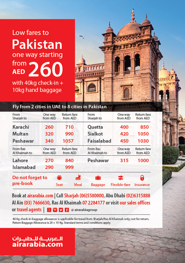 Low fares to Pakistan from AED 260 | Air Arabia