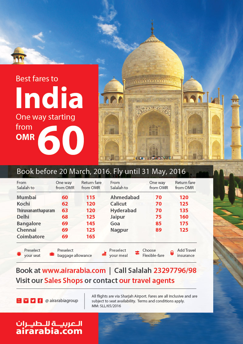 Best fares from Salalah to India starting fare OMR 60, one way!
