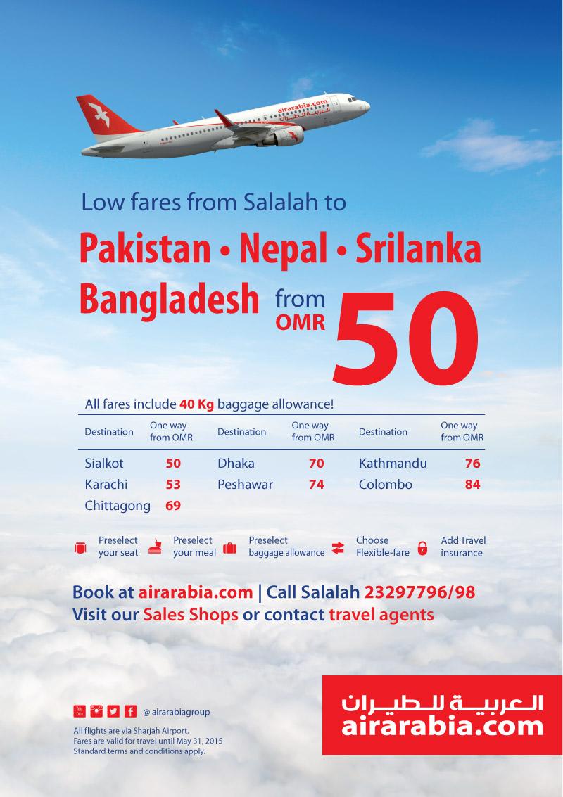 Low fares from Salalah to Pakistan, Nepal, Srilanka