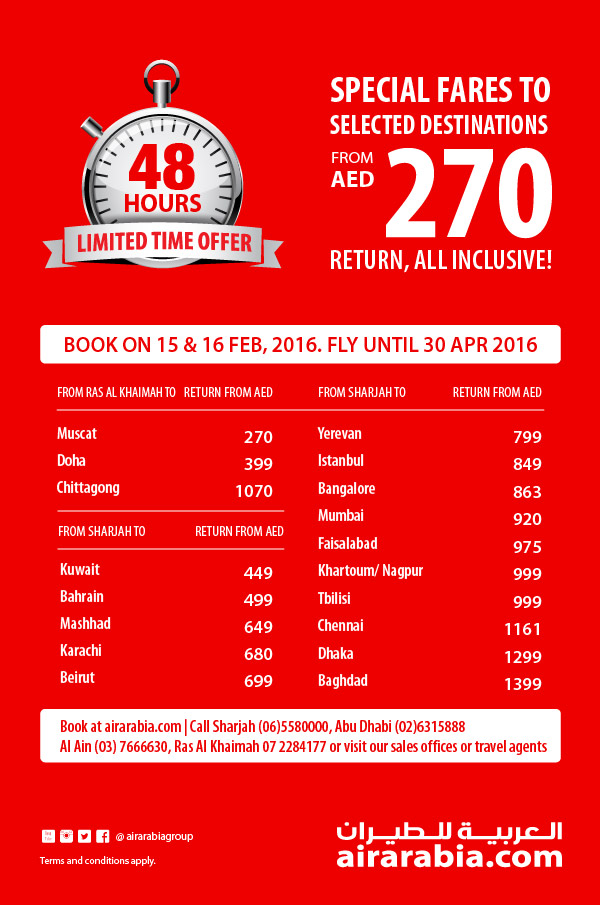 48 hrs offer - special fares from UAE starting AED 270