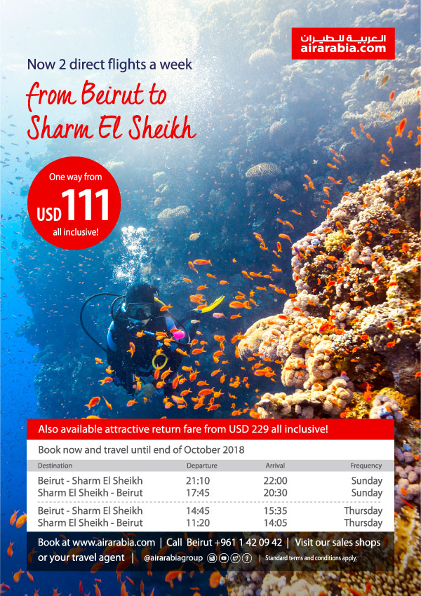 Now 2 Direct Flights A Week From Beirut To Sharm El Sheikh