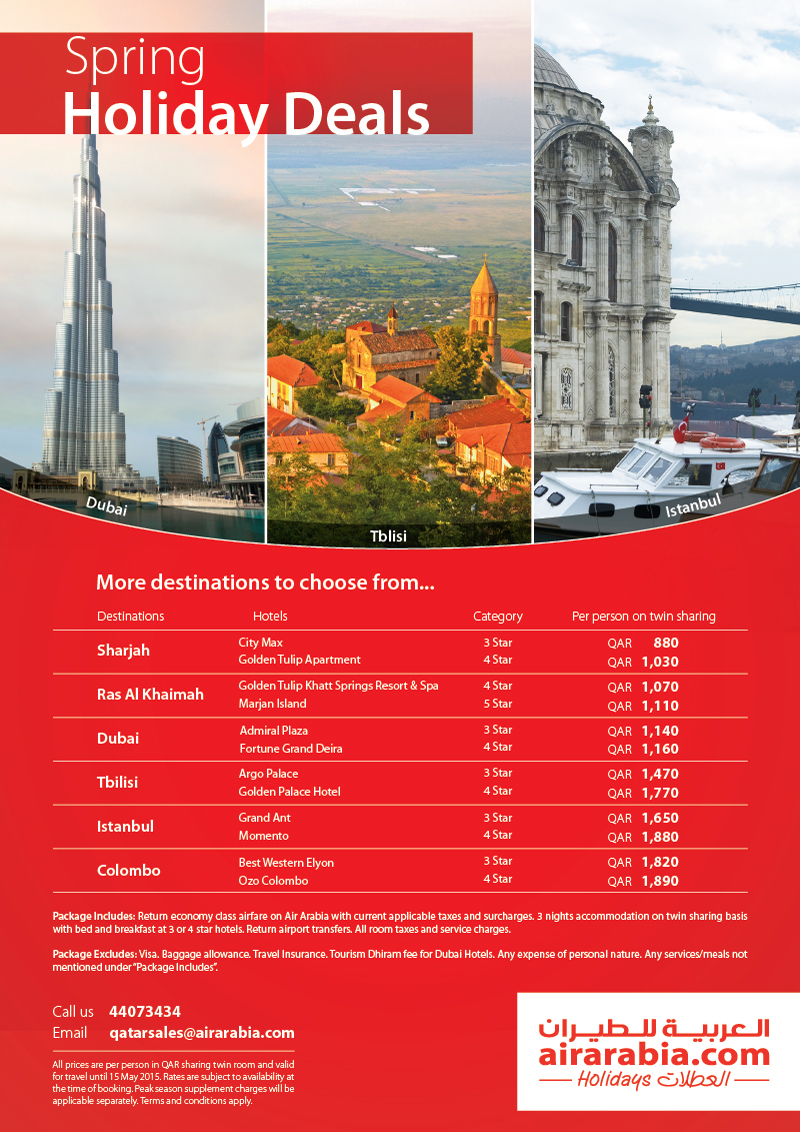 Spring Holiday Deals from Qatar!