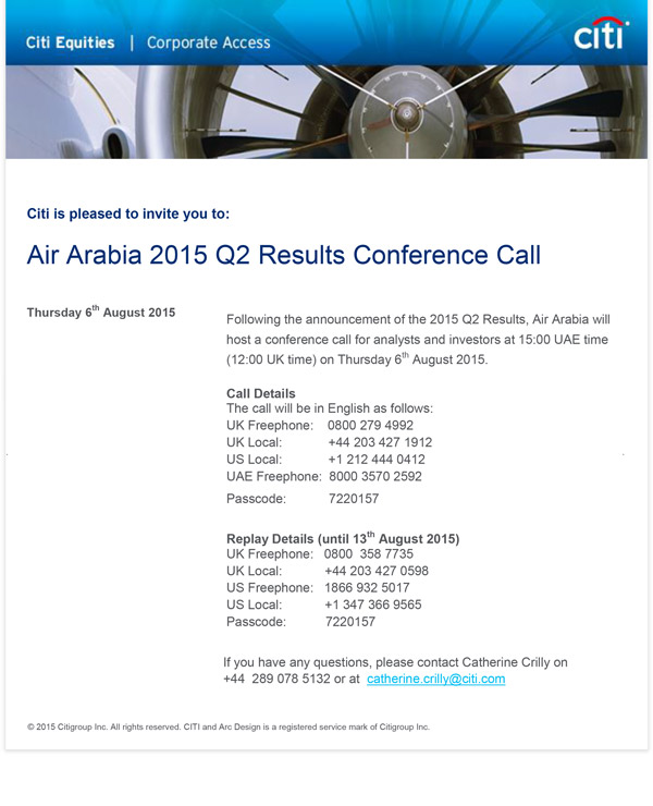 Air Arabia 2015 Q2 Results Conference Call