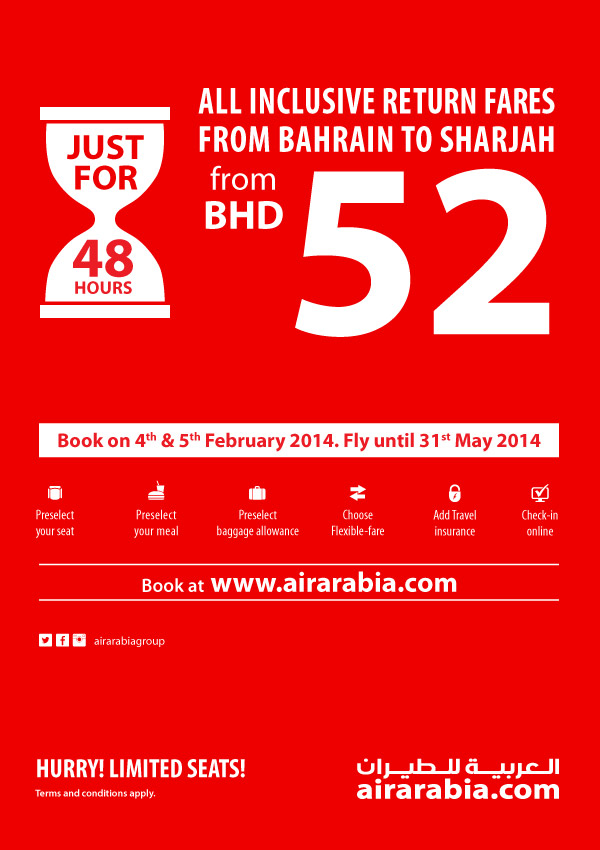 Web exclusive offer from Bahrain to Sharjah return all inclusive from BHD 52