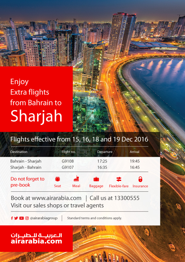 Enjoy extra flights from Bahrain to Sharjah