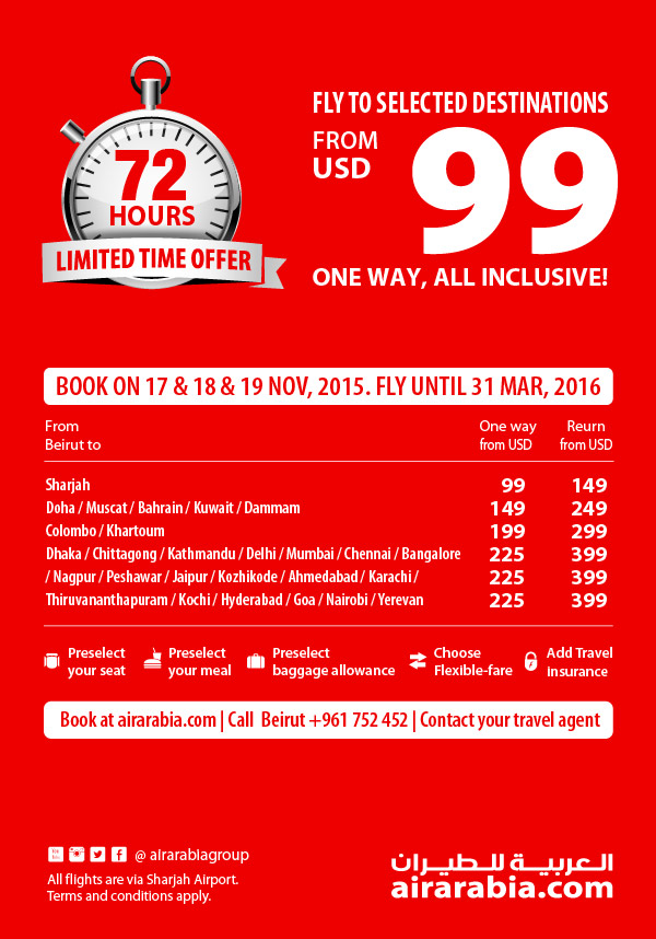 Fly to selected destination from USD 99 one way, all inclusive
