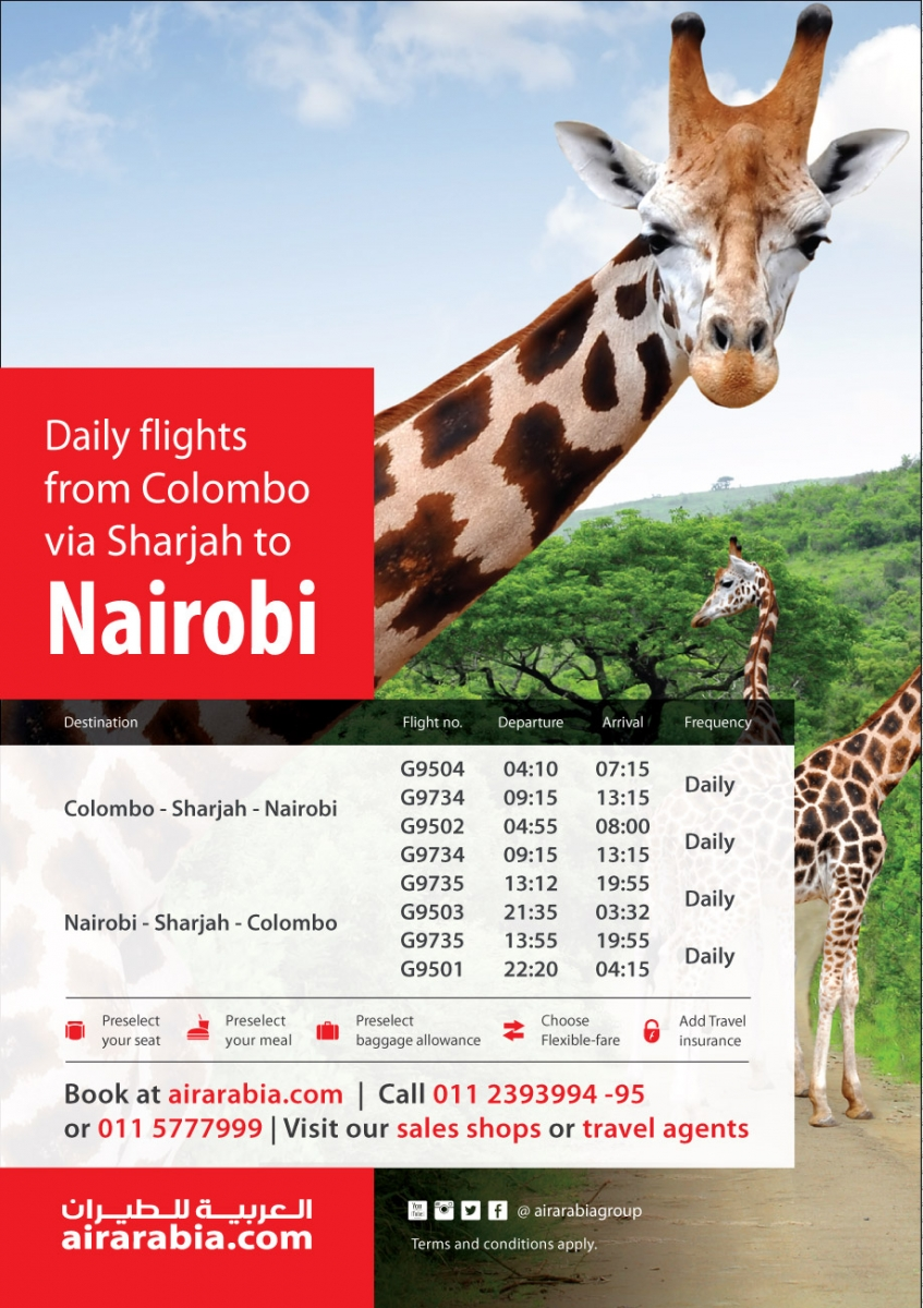 Enjoy daily flights from Colombo to Nairobi!
