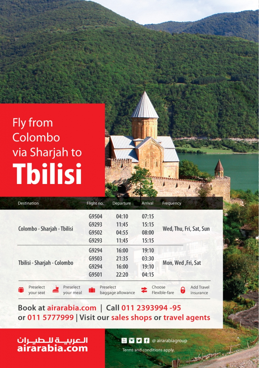 Fly from Colombo to Tbilisi