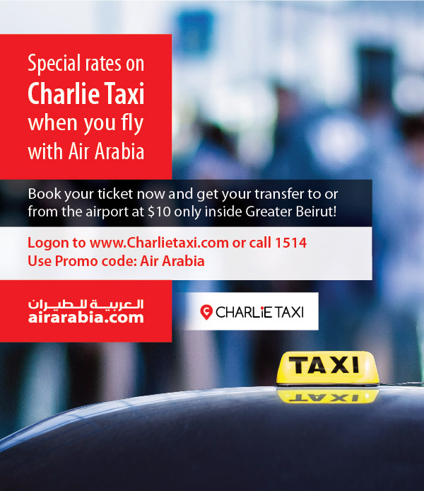 Special rates on Charlie Taxi when you fly with Air Arabia
