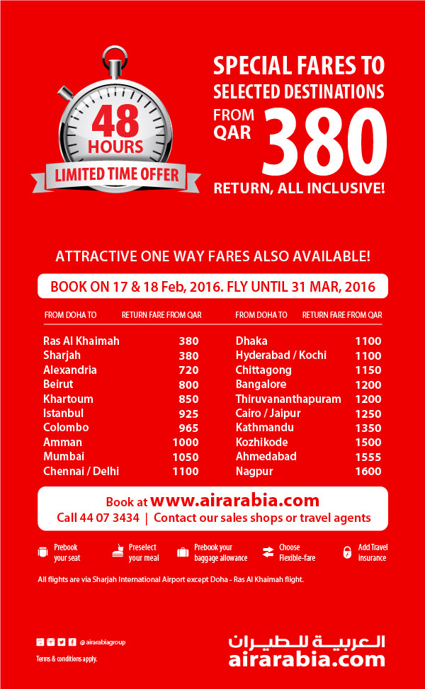 48 Hrs Offer: Special fares starting QAR 380, return
