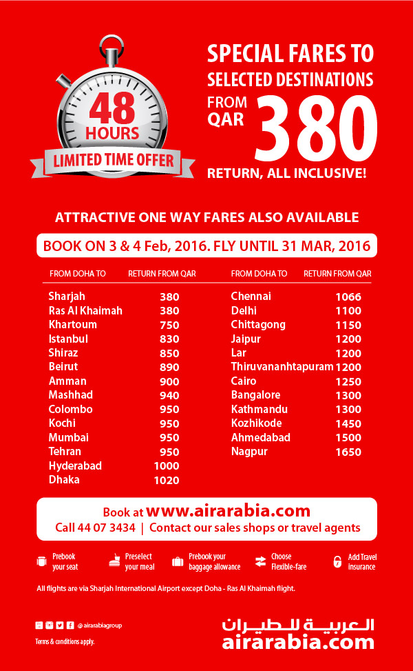 Special fares to selected destinations from QAR 380 return, all inclusive
