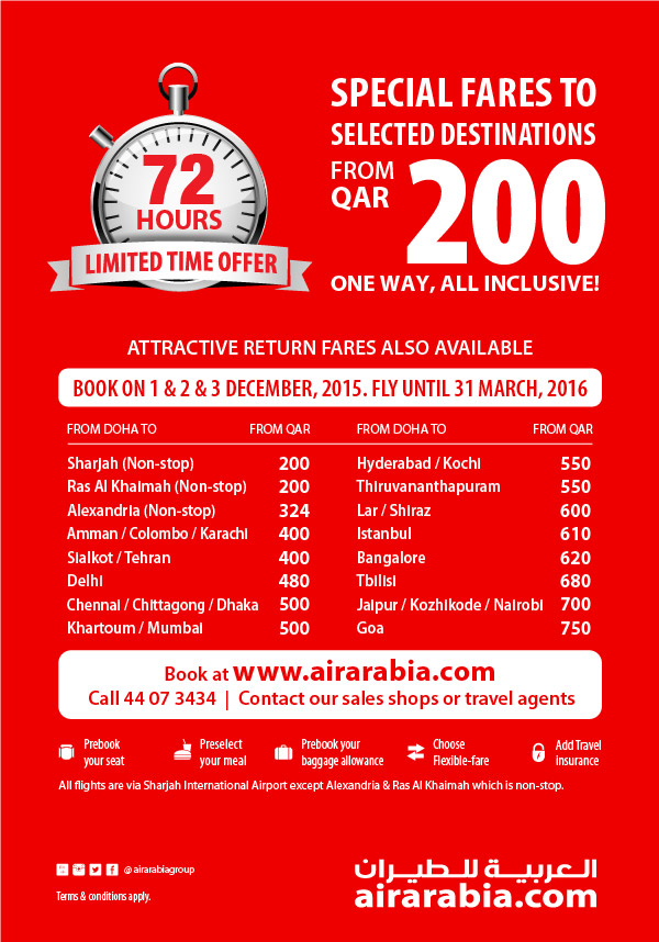 Special fares to selected destinations from QAR 200 one way, all inclusive!