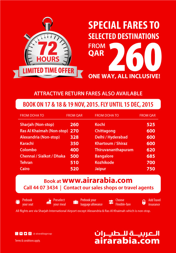 Special fares to selected destinations from QAR 260 one way, all inclusive!