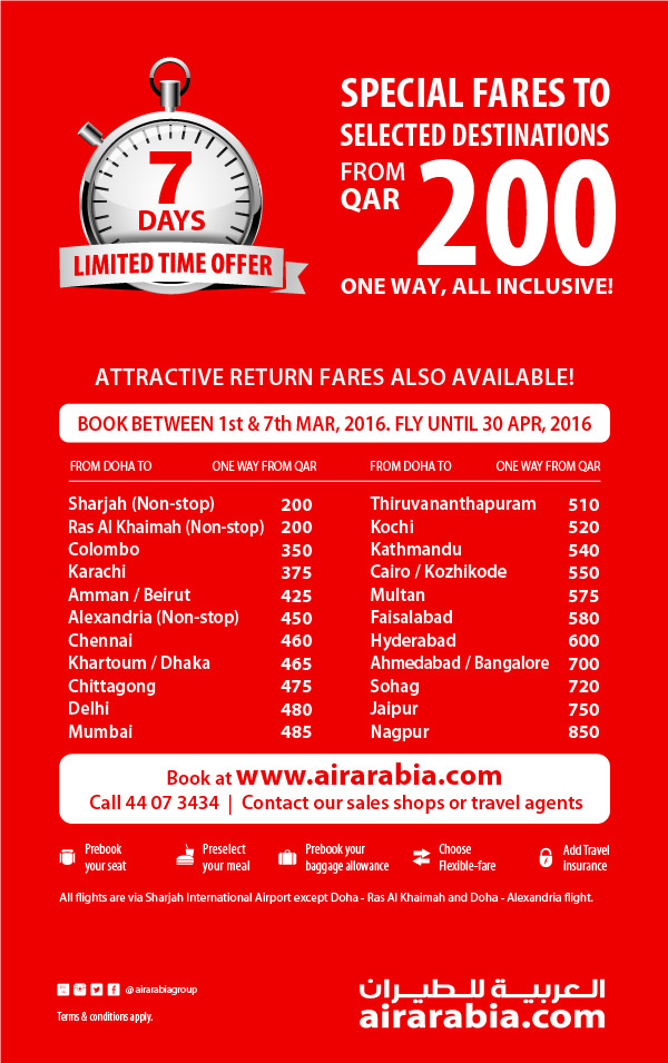 7 Days Offer: Fly To Selected Destinations From QAR 200