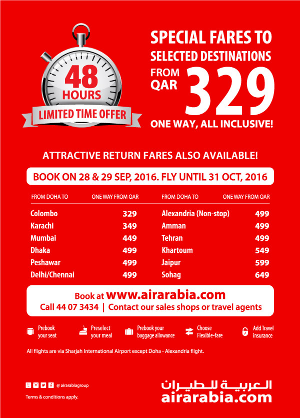 Special fares to selected destinations from Doha