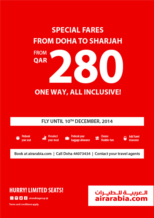 Special fares from Doha to Sharjah from QAR 280 one way, all inclusive!
