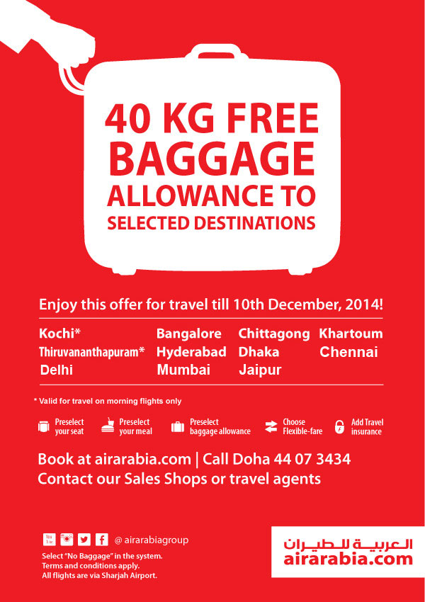 40KG Free baggage allowance to selected destinations