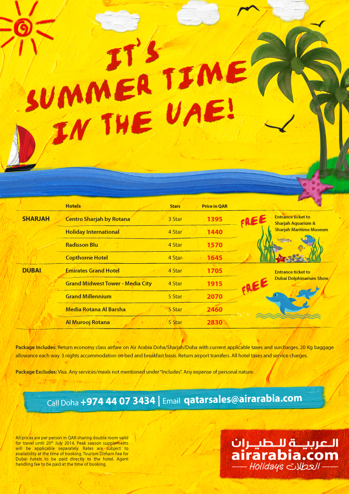 Its summer time in UAE, travel from Doha to UAE