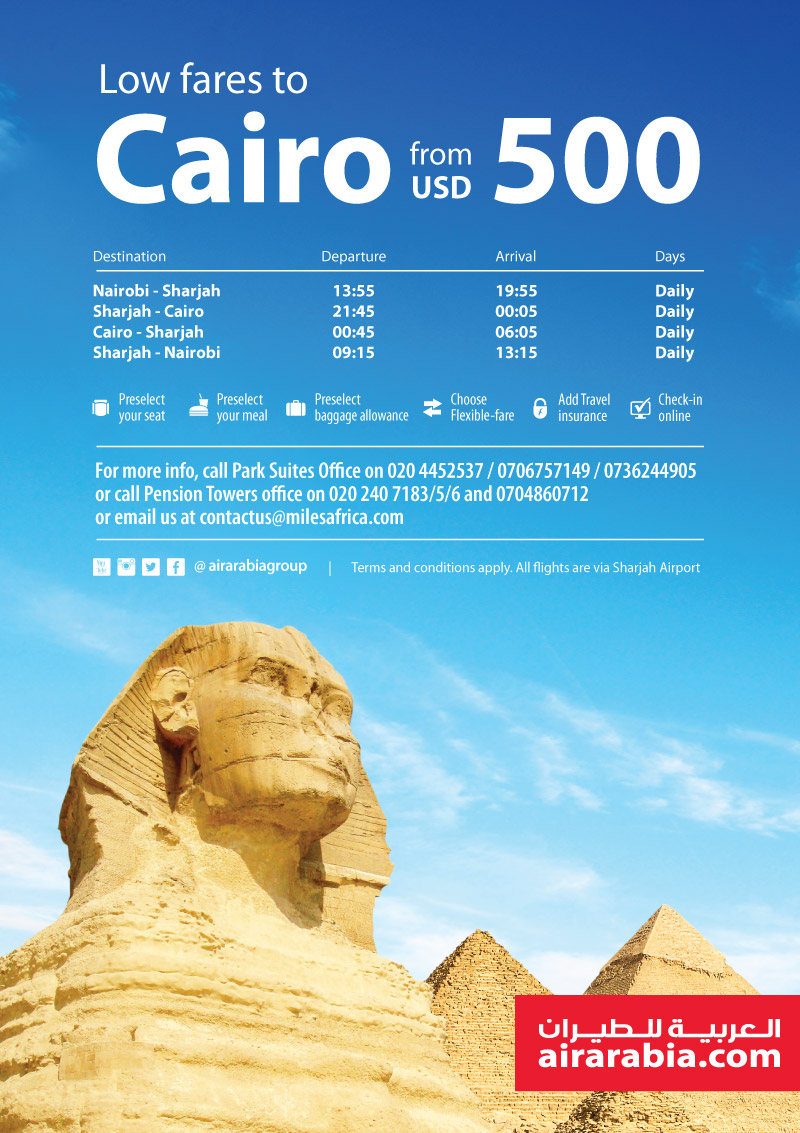 Low fares to Cairo from USD 500!