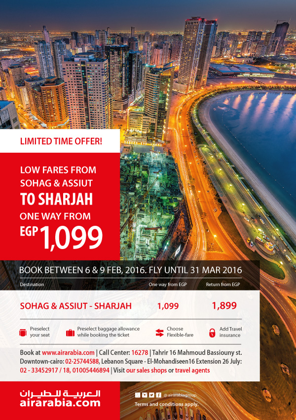 Low fares from Sohag & Assiut to Sharjah one way from EGP 1099