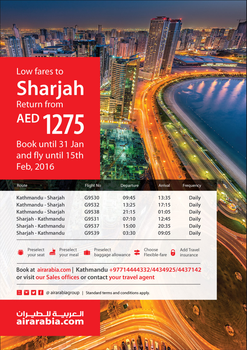 Low fares to Sharjah return from AED 1275!