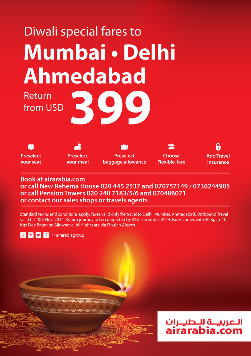 Diwali special fares to Ahmedabad, Delhi and Mumbai return from USD 399!
