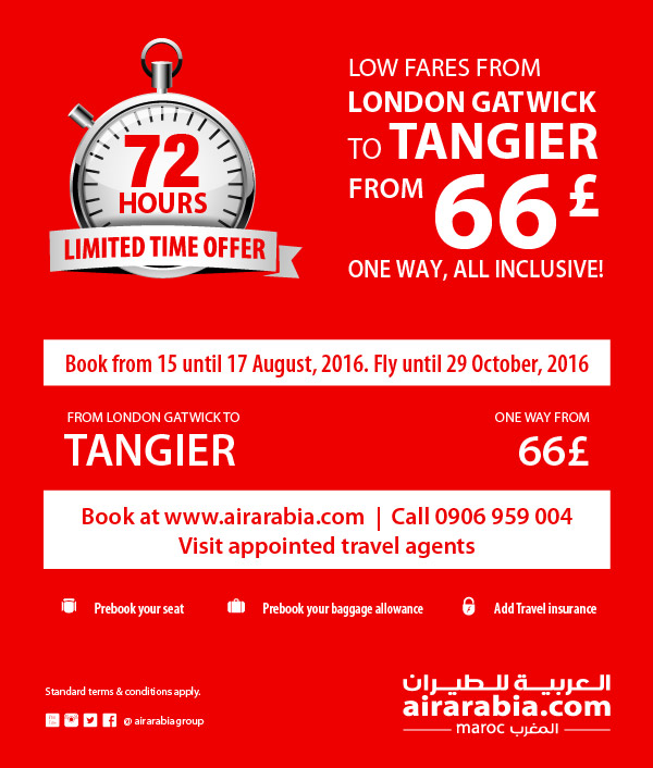 Low fares from London to Tangier from 66£ one way, all inclusive!