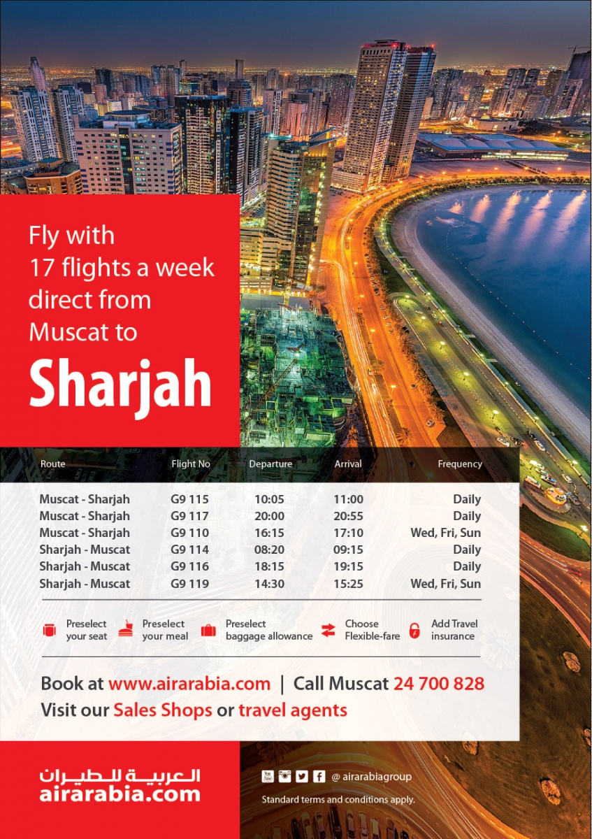17 flights a week direct from Muscat to Sharjah