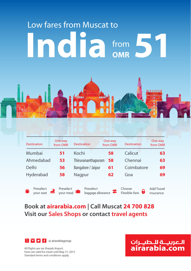 Low fares from Muscat to India from OMR 51