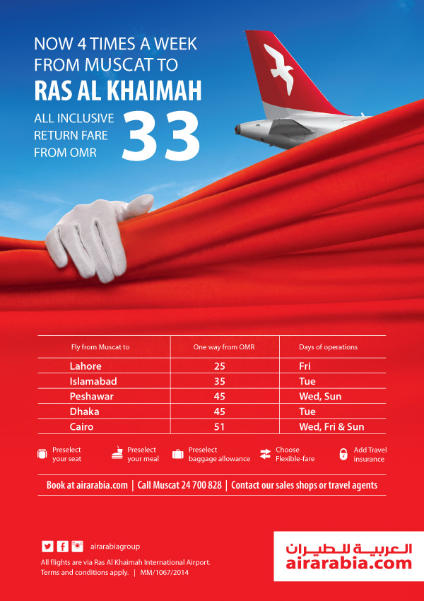 Fly 4 times a week from Muscat to Ras Al Khaimah