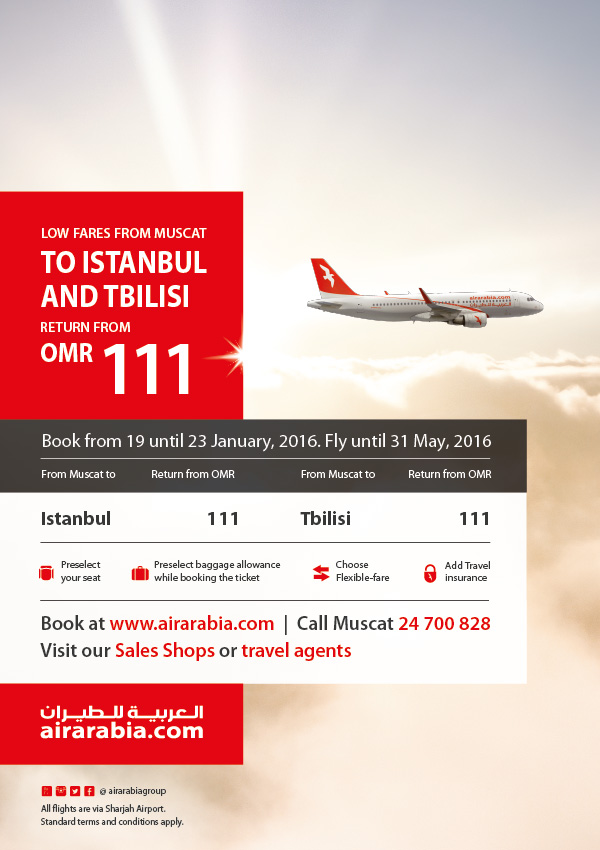 Low fares to Istanbul & Tblisi from Muscat starting OMR 111 return